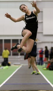 Kalleen Rose Ozanic, of West Milford, is shown as she long jumps at the Passaic County Indoor (track) Championships at Ocean Breeze, in Staten Island.  Monday, January 28, 2019