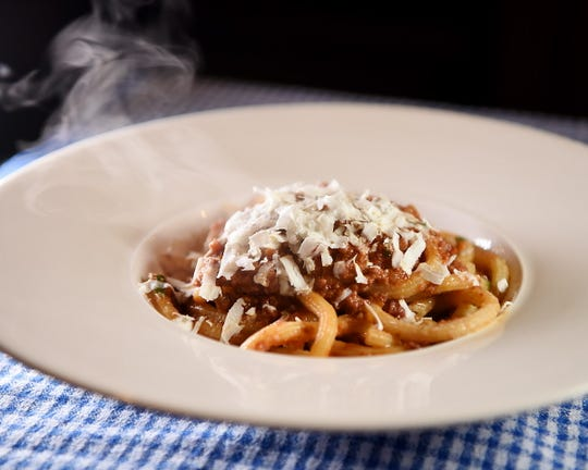 Bucatini bolognese at  at No. 12 in Ridgewood
