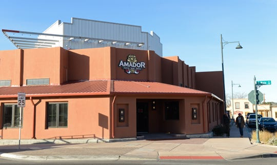 The main entrance to the Amador entertainment complex on Main Street in downtown Las Cruces on Monday, Jan. 28, 2019, which is now scheduled to open in February.