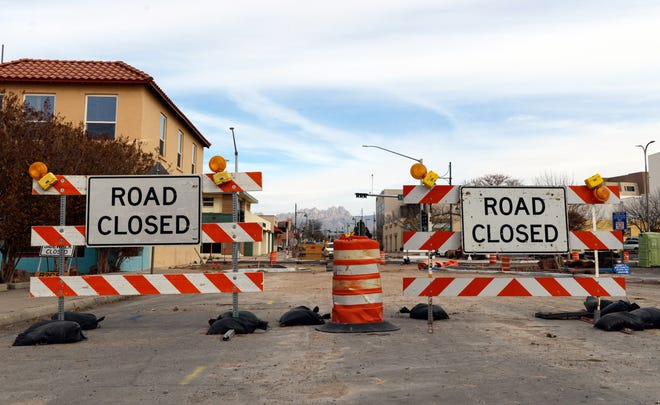 Las Cruces Avenue at Water Street in downtown Las Cruces was still closed on Tuesday, Jan. 29, 2019, because of road construction.