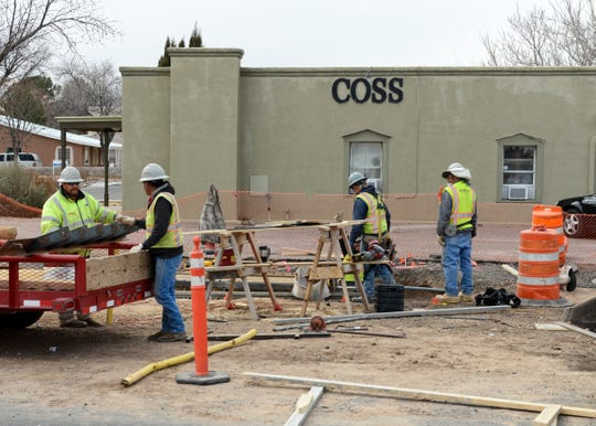 Construction work on Water Street in downtown Las Cruces on Tuesday, Jan. 29, 2019.