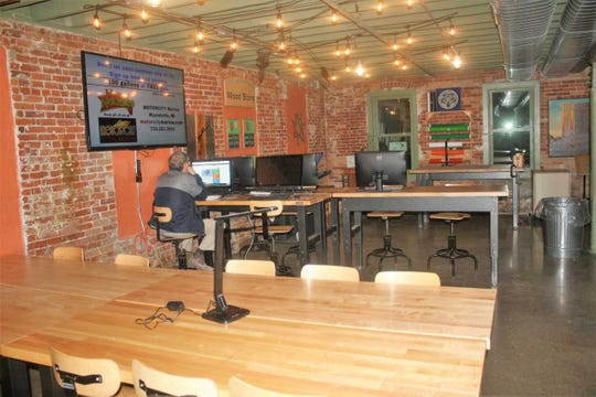 Pictured is just a small slice of the available coworking space at The Village Workshop in downtown Northville.