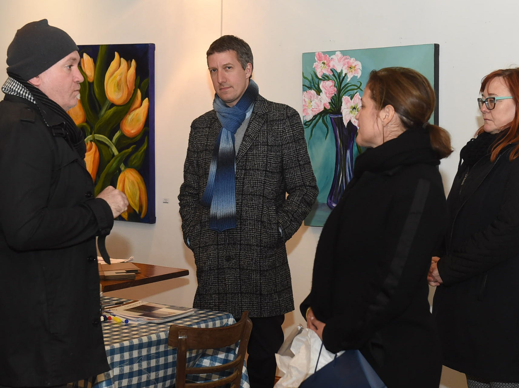 Visitors from the French Consulate visit NuN'u's Tuesday afternoon.