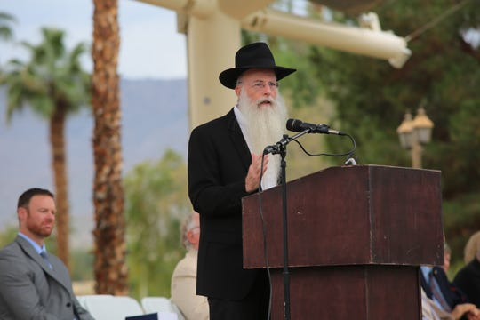 Rabbi Yonason Denebeim speaks at Palm Desert's annual Holocaust Remembrance Day ceremony, January 28, 2019.