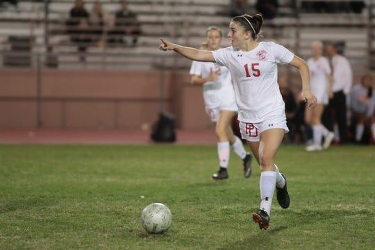 Malia Falk plays for Palm Desert against La Quinta, January 28, 2019.