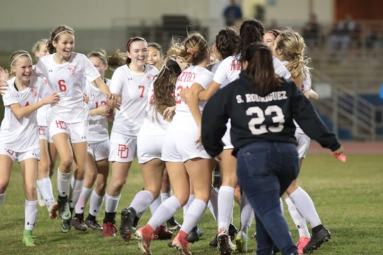 Palm Desert defeats La Quinta to move into first place in the Desert Empire League soccer finals, January 28, 2019.