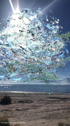 Nancy Baker Cahill, Margin of Error (2018) at the Salton Sea, animated Augmented Reality Drawing