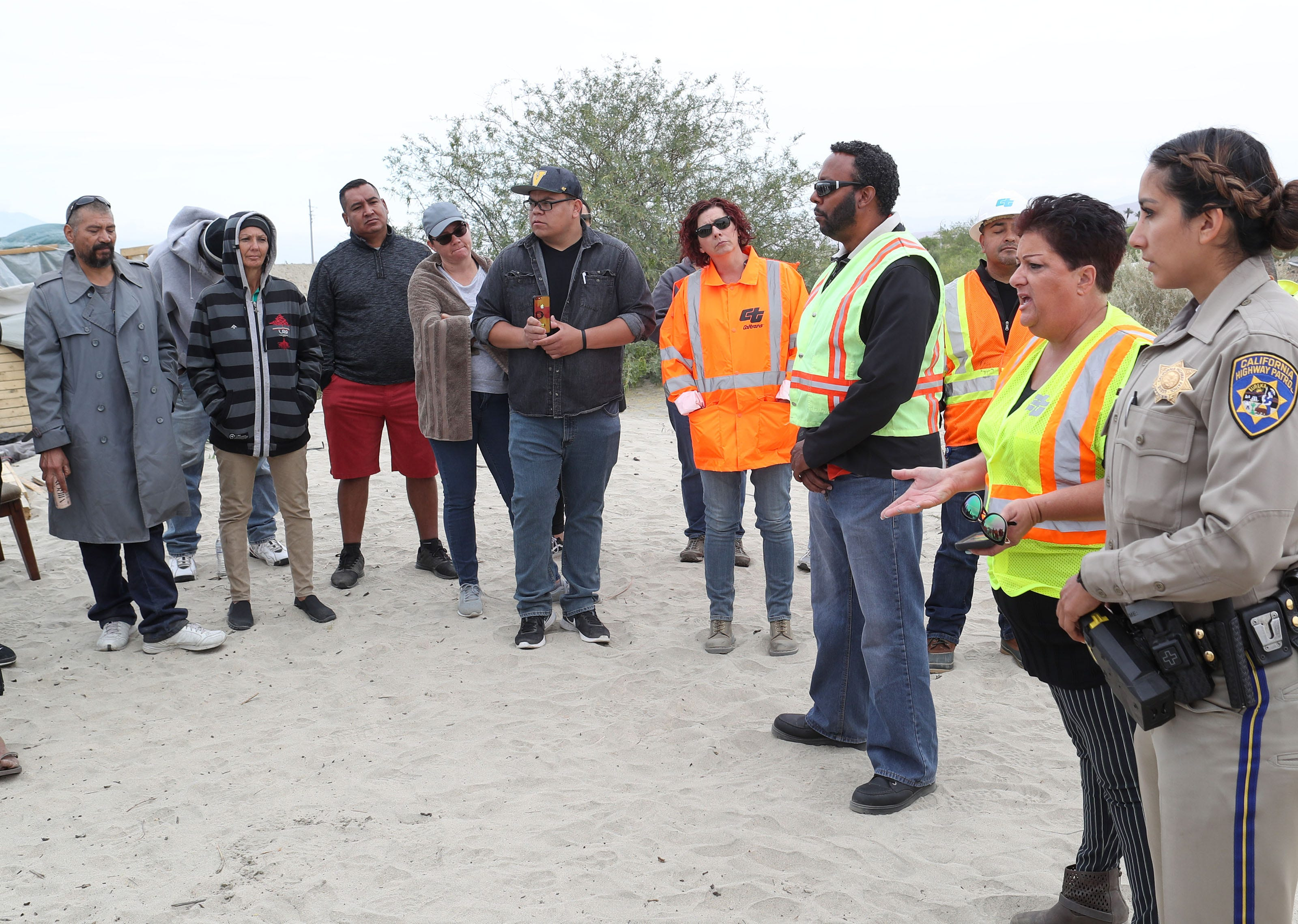 People living at the Coachella encampment are told by Caltrans they will have to leave on May 1, 2018.