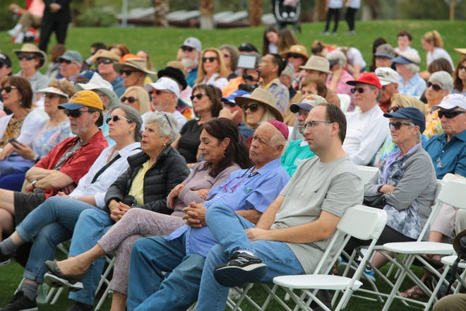 Community members gather in Palm Desert for an annual Holocaust Remembrance Day ceremony, January 28, 2019.