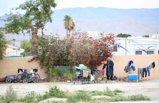 The homeless take refuge in a vacant lot in Indio, January 19, 2019.