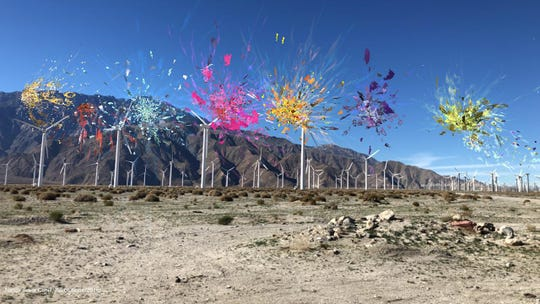 Nancy Baker Cahill, Revolutions (2019) at the Palm Springs Wind Farm, animated Augmented Reality Drawing