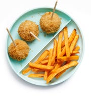 Chicken Pops with baked carrot fries. Made dairy free, egg free and soy free.