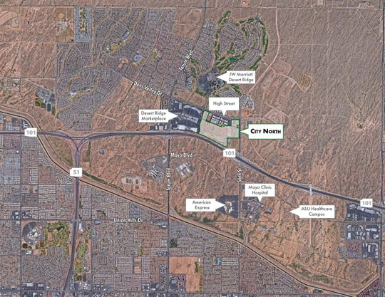 Aerial rendering of a 96.5-acre parcel in Desert Ridge called City North.