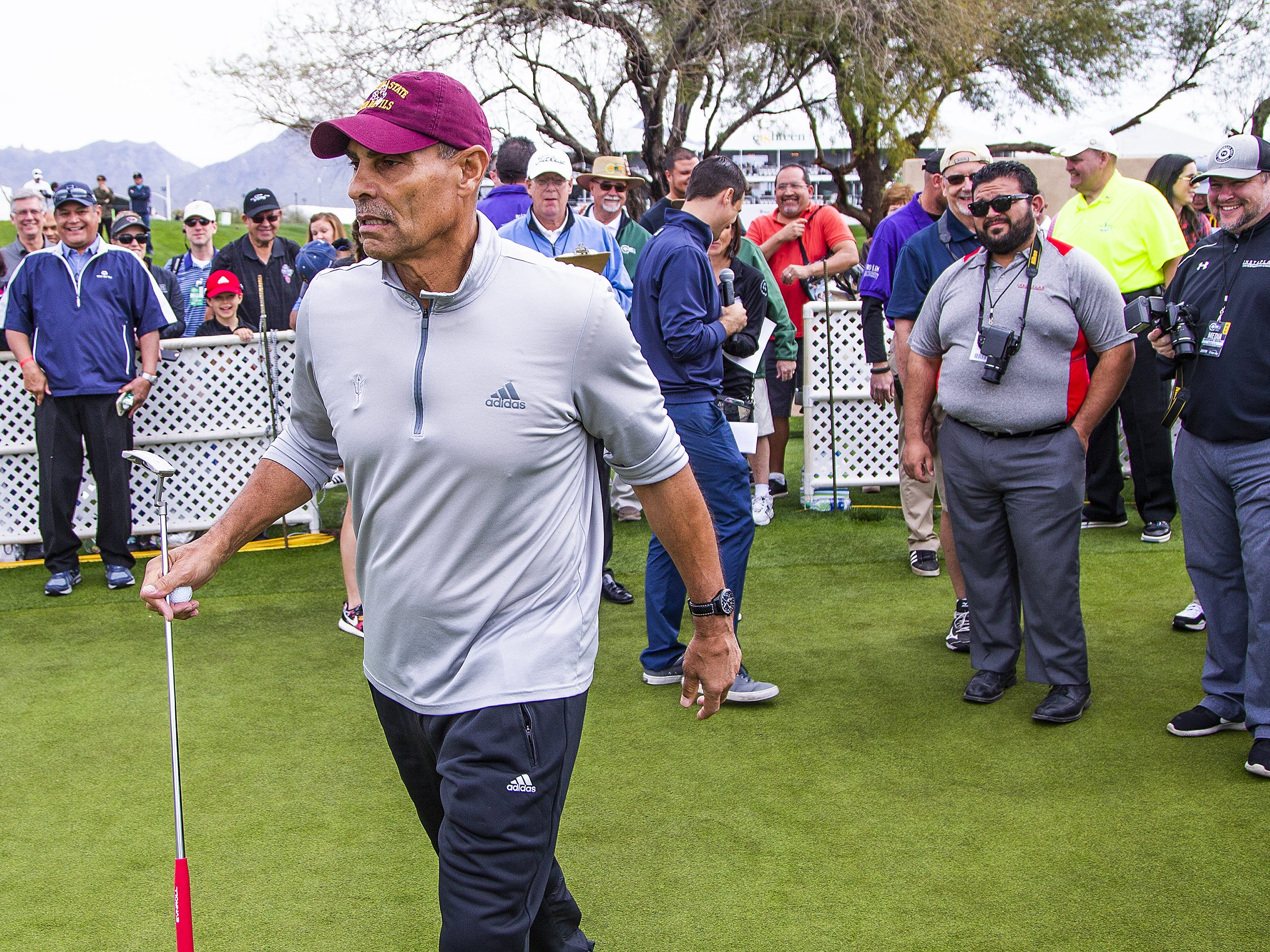 ASU head coach Herm Edwards participates in the San Tan Ford Special Olympics Open at the Waste Management Phoenix Open at the TPC Scottsdale, Tuesday, January 29, 2019.