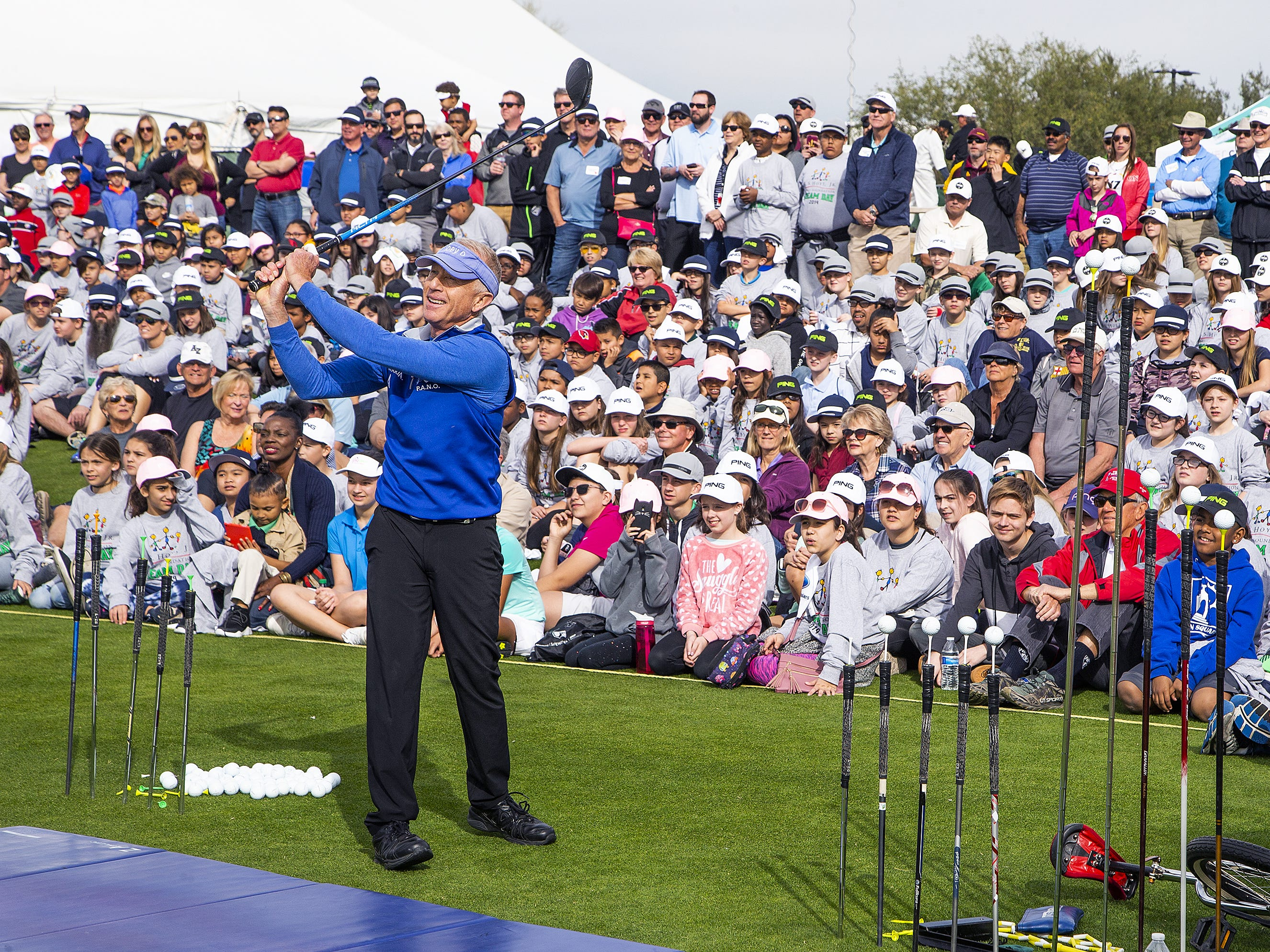 Joey O, a trick-shot golfer and motivational speaker, demonstrates his skills at the R.S. Hoyt Jr. Family Foundation Dream Day Junior Golf Clinic presented by PING at the Waste Management Phoenix Open at the TPC Scottsdale, Tuesday, January 29, 2019.