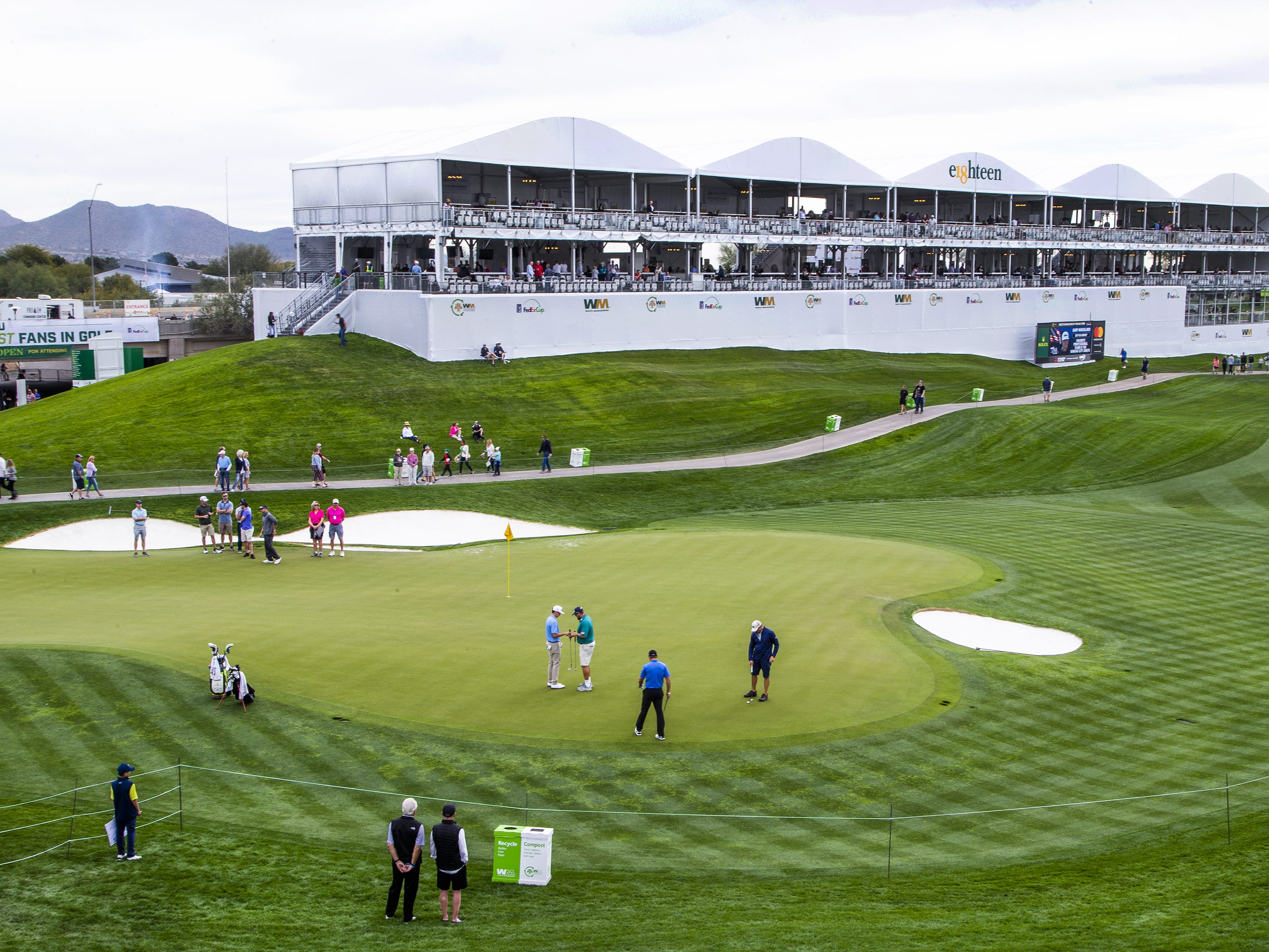 A third level has been added to the grandstand on the 18th hole at the Waste Management Phoenix Open at the TPC Scottsdale, Tuesday, January 29, 2019.