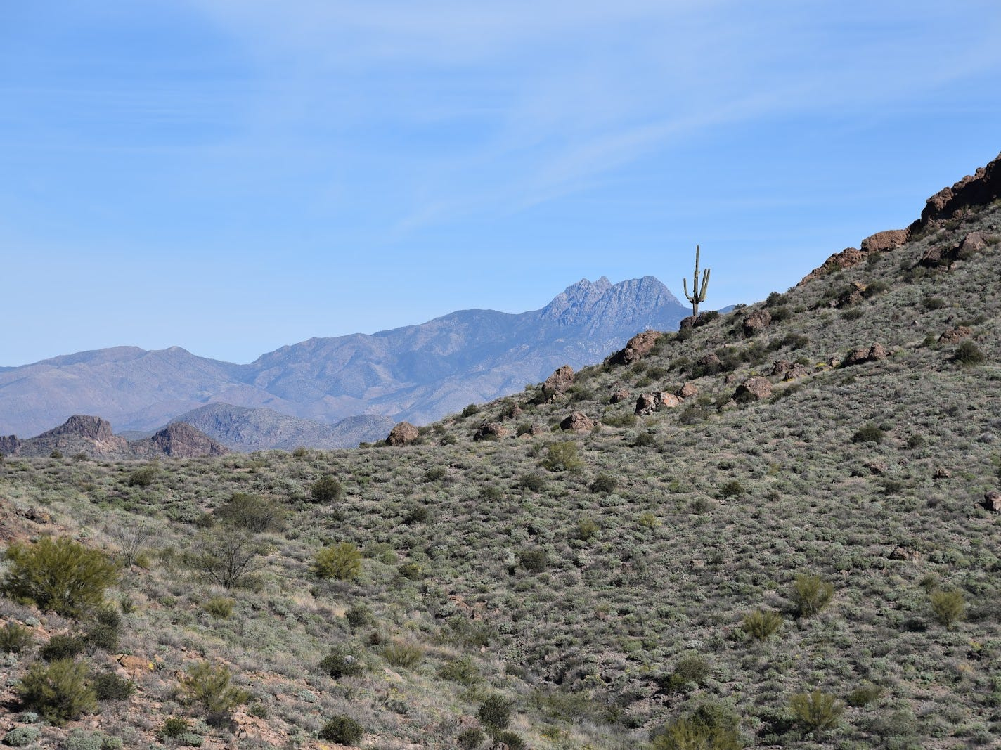 The Four Peaks are visible throughout most of the hike.