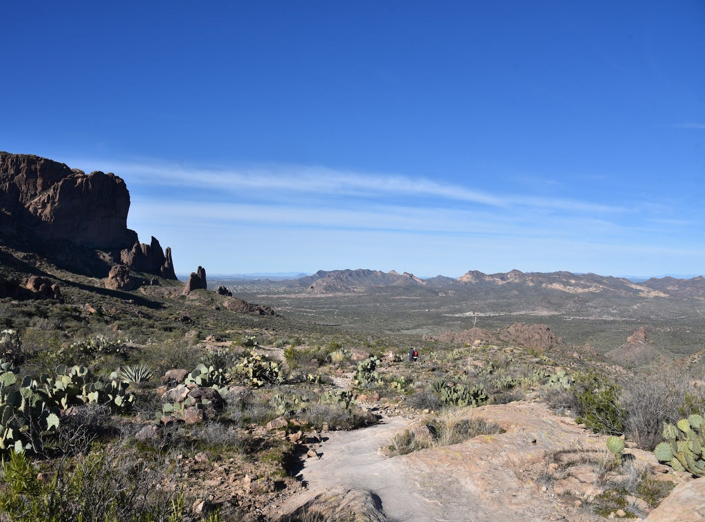 Rock pinnacles (left) above Lost Dutchman State Park.