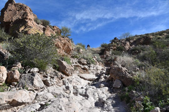 This rough chute is the most difficult part of the hike.