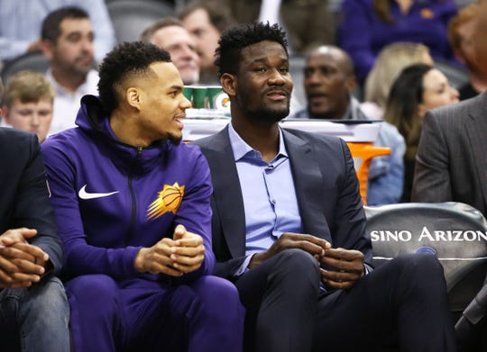 Phoenix Suns center Deandre Ayton in street clothes against the Minnesota Timberwolves in the second half on Jan. 22 at Talking Stick Resort Arena.