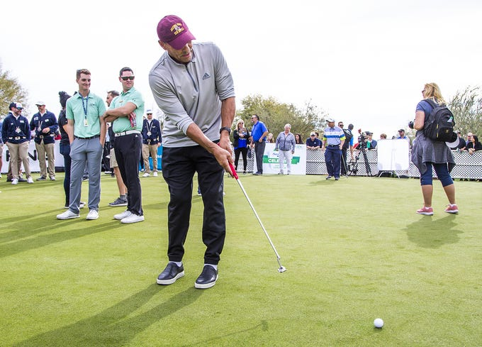 ASU head coach Herm Edwards putts during the San Tan Ford Special Olympics Open at the Waste Management Phoenix Open at the TPC Scottsdale, Tuesday, January 29, 2019.
