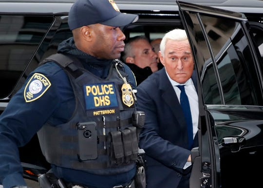 Former campaign adviser for President Donald Trump, Roger Stone, arrives at Federal Court, Tuesday, Jan. 29, 2019, in Washington. Stone was arrested in the special counsel's Russia investigation and was charged with lying to Congress and obstructing the probe. (AP Photo/Alex Brandon)