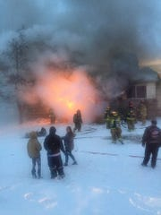 Firefighters responded to a house fire in the 600 block of River Street on Monday, Jan. 28, 2019, in Marine City.