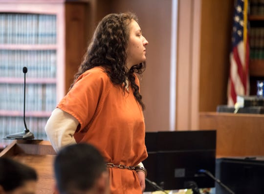 Sarah Prange, 22, leavess Judge Cynthia Platzer's courtroom Tuesday, Jan. 29, 2019 after a probable cause hearing. Prange is one of two being charged for allegedly lacing a recovery home manager's food with heroin.