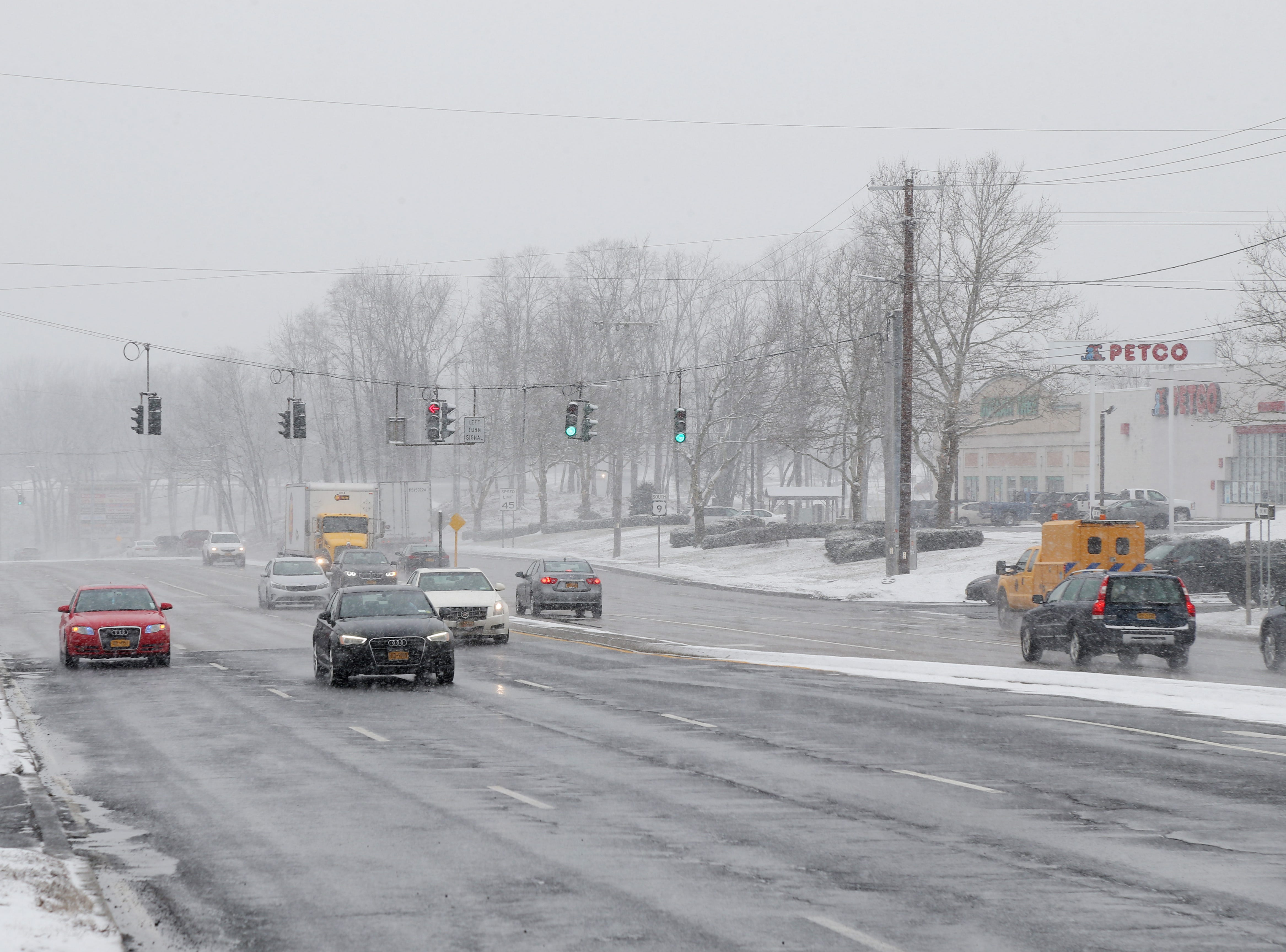 Traffic travels north along route 9 in the Town of Poughkeepsie on January 29, 2019.