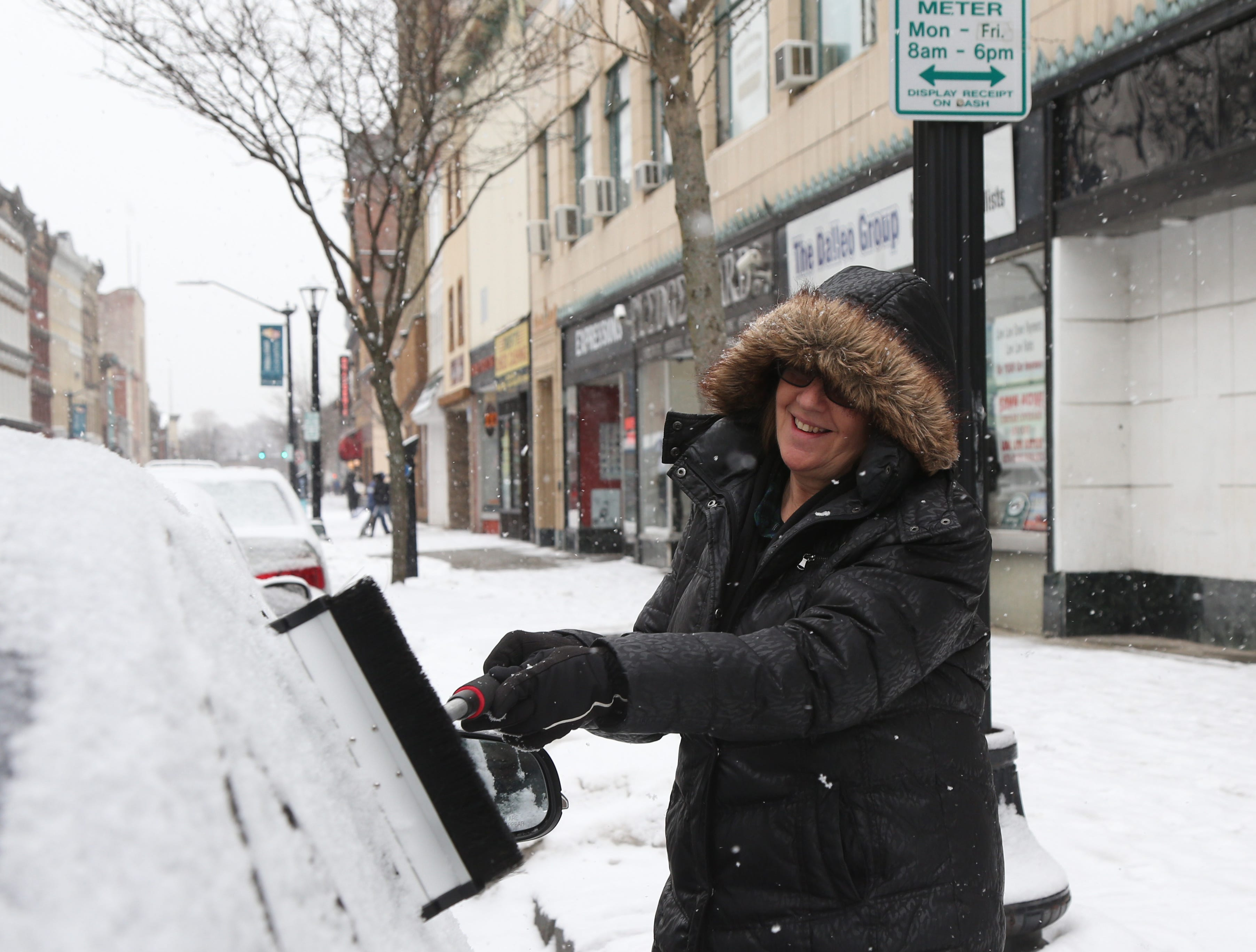 Eileen Cohen of Wappingers Falls clears the accumulated snow from her car before leaving Main Street in the City of Poughkeepsie on January 29, 2019.