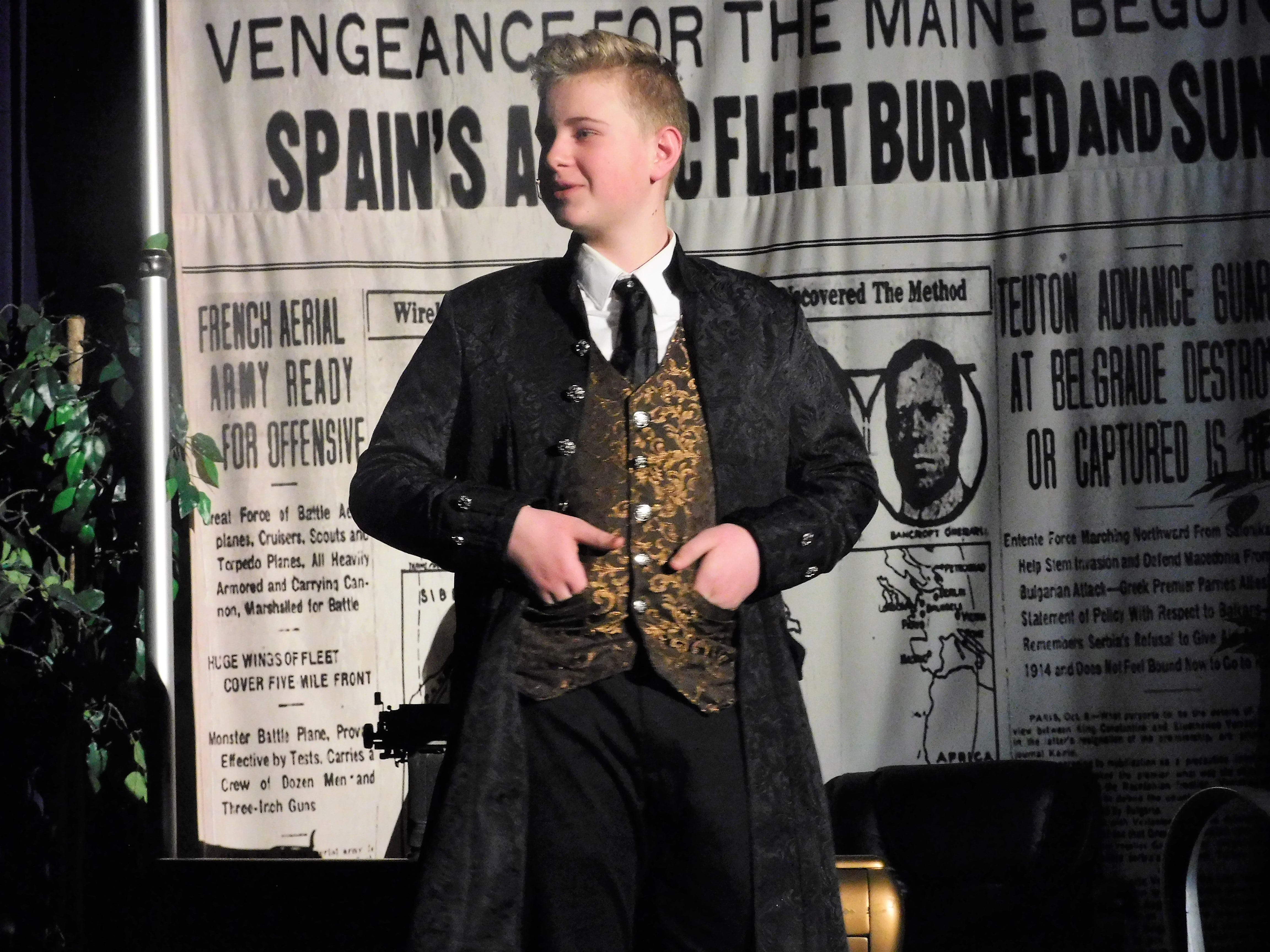 """Brodie Meyers portrays Joseph Pulitzer in a dress rehearsal of """"Newsies"""" on Jan. 23, 2019. Chambersburg Area Middle School North Drama Club will put on the musical, which depicts the New York City Newboys Strike of 1899, at 7:30 p.m. Feb. 1 and 2 in the CAMS North auditorium. For tickets, $8 plus fees, go to showtix4u.com."""