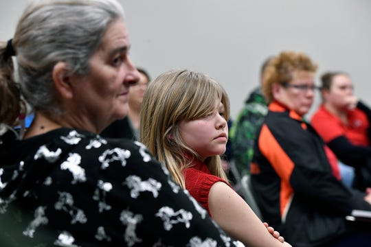 Kerry Mateljan and her granddaughter Krystyna Strausbaugh, a fifth grader at Trimmer Elementary School, attend a public meeting for parents to voice concerns about reported bullying in West York School District, Monday, January 28, 2019.