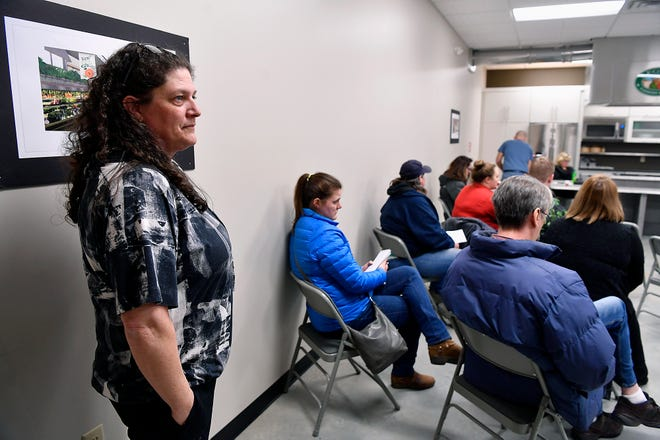 Rhonda Lucky greets fellow parents as they arrive for a public meeting to voice concerns about reported bullying in West York School District, Monday, January 28, 2019.John A. Pavoncello photo