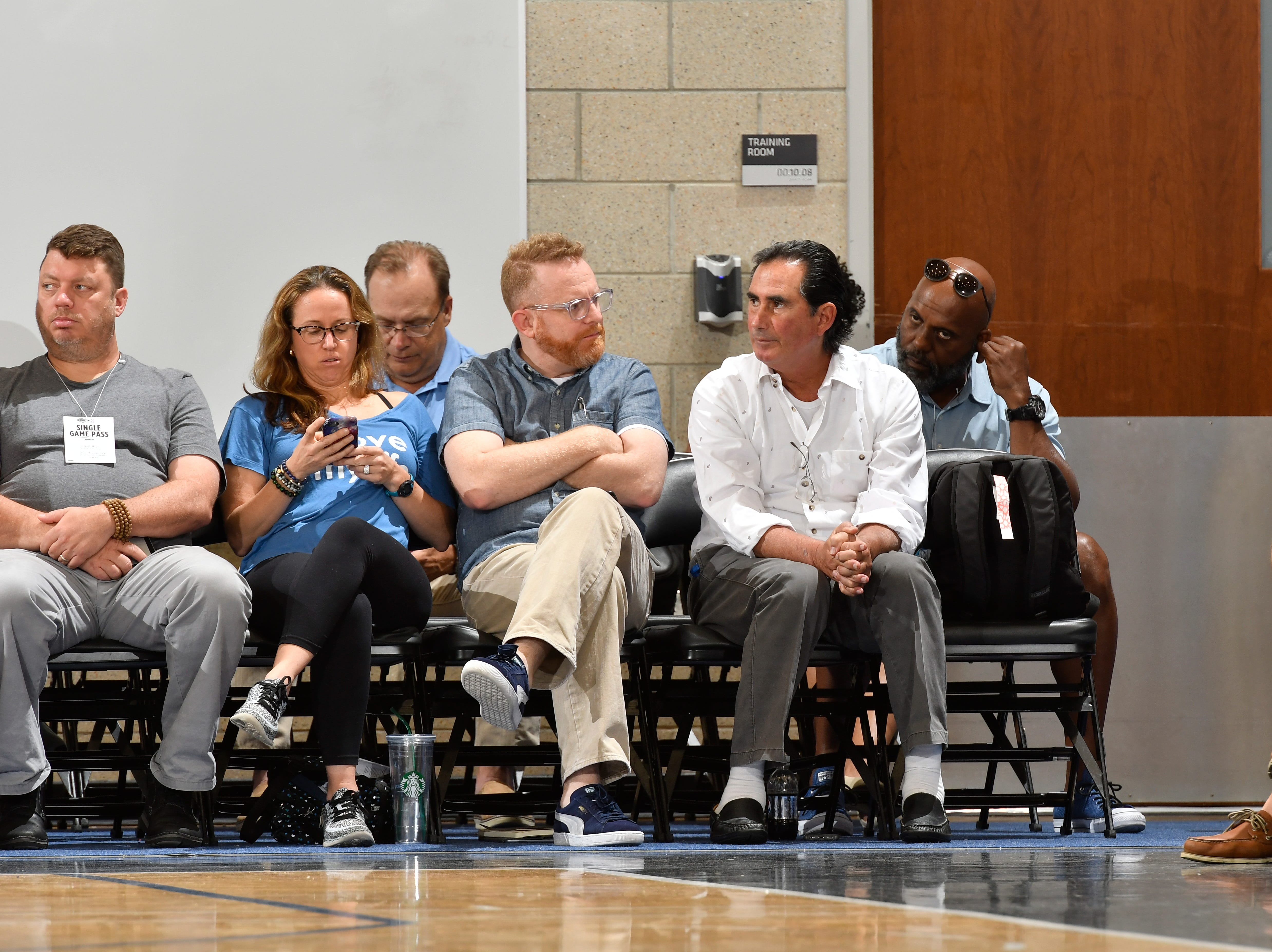 Delone Catholic grad John Gabriel (right, front row) still works Pro Summer League games like this on in July of 2017 in Orlando. Gabriel was the first general manager of the Orlando Magic. He came back to the Magic after being diagnosed with Parkinson's disease eight years ago. He's now a special advisor to the team and expert talent judge.