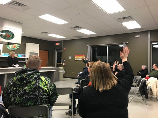 Parents and other community members gathered at a meeting to discuss bullying in West York Area School District Monday night raise their hands in response to being asked about their children being bullied.