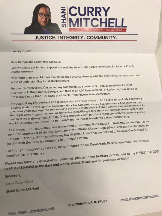 Shani Curry Mitchell letter to Democratic committee members seeking designation for District Attorney candidacy