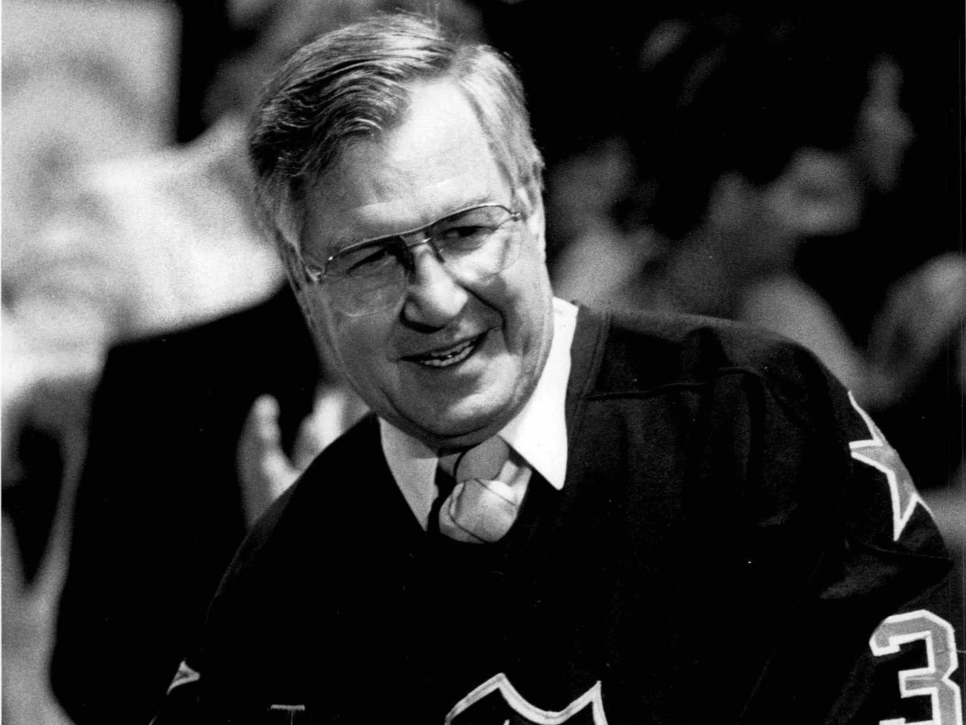 "Joe Crozier sports the ""stolen"" Daren Puppa jersey at the Rochester Amerks' 1987 Calder Cup celebration."