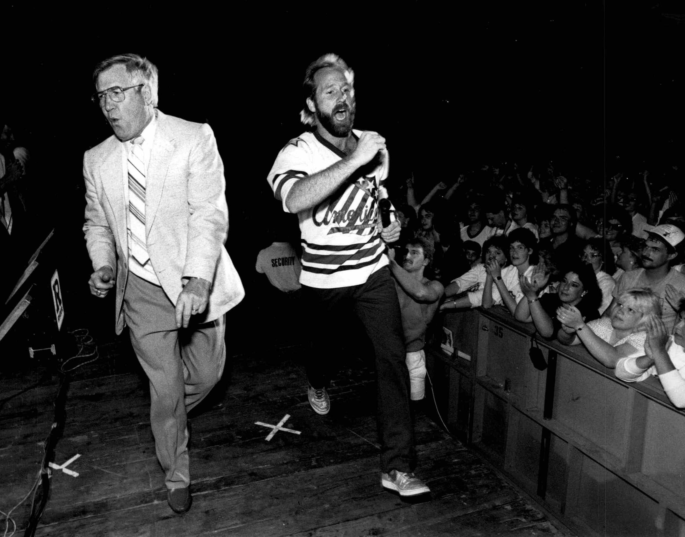 Joe Crozier performs with Brian Venton of Nik and the Nice Guys during the Rochester Americans 1987 Calder Cup championship celebration at the Rochester Community War Memorial.