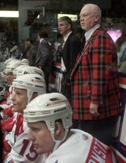 Former Amerks player and coach Don Cherry was back behind the bench to help guide the Canadian All Star team in the AHL 2000 All Star Game Monday, Jan. 17, 2000 at the Blue Cross Arena in downtown Rochester. Cherry, a long time fan favorite, was picked as honorary coach of the team. (Democrat & Chronicle, Photo by Shawn Dowd, 011700 )
