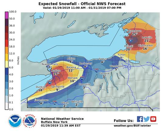 Expected snowfall through Thursday evening