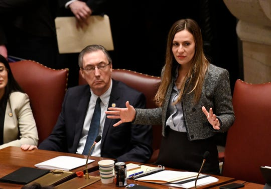 New York Sen. Alessandra Biaggi, D-Pelham, explains her vote in the affirmative on the Child Victims Act in the Senate Chamber at the state Capitol on Monday, Jan. 28, 2019, in Albany, N.Y.