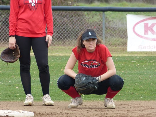 Shasta College sophomore Marissa Hopkins practices with the Knights softball team on Monday, Jan. 28, 2019.