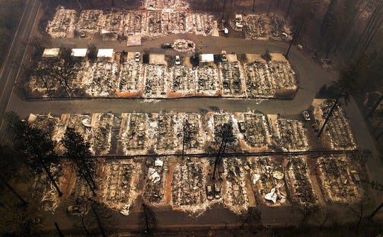 This Nov. 15, 2018, aerial file photo shows the remains of residences leveled by the Camp wildfire in Paradise, Calif.
