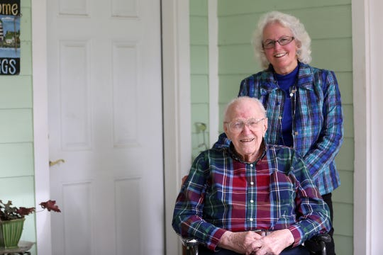 Art Gregg, one of the state's oldest World War II veterans, and his daughter Ann Snelling at his home in Silverton on Friday, Jan. 25, 2019. Gregg is turning 100 years old on Feb. 16.