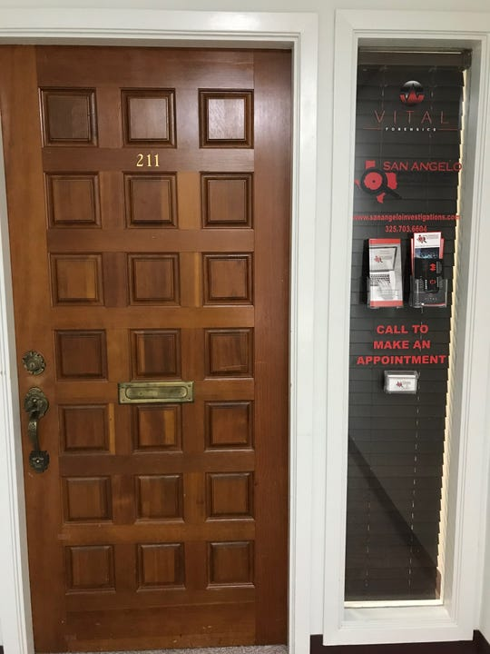 This door leads to San Angelo Investigations and Consulting and Vital Forensics, 133 W Concho Ave #211.
