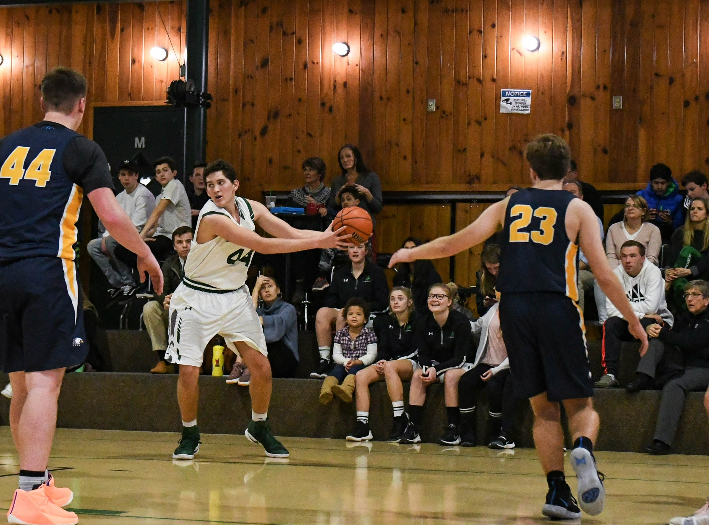 Salisbury School's Jared Vazquez (44) moves the ball against Holly Grove at The Salisbury School on Monday, Jan. 18, 2019.