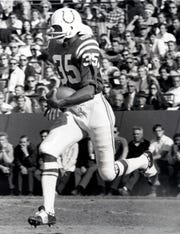 Unknown date and location; Baltimore Colts defensive back Jim Duncan (35) returns a kick-off during the 1969 season.  Mandatory Credit: Malcolm Emmons-USA TODAY Sports