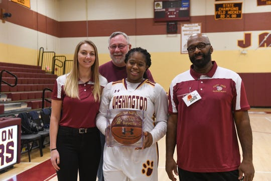 Washington High School's Danasia Roberts scored her 2000th point against Pocomoke on Tuesday, January 29, 2019. Danasia is the first person to ever reach 2000 points in Washington basketball history.
