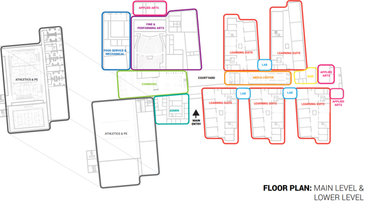 """A floor plan shows the academic """"suites"""" in the new northwest Sioux Falls high school."""