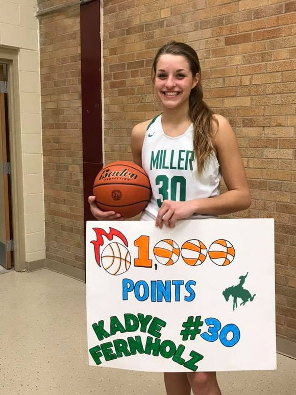 Miller junior Kadye Fernholz after scoring her 1,000th career point on Jan. 17.
